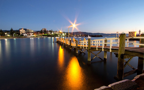 Pre-dawn at Wollongong pier overlooking the harbour.