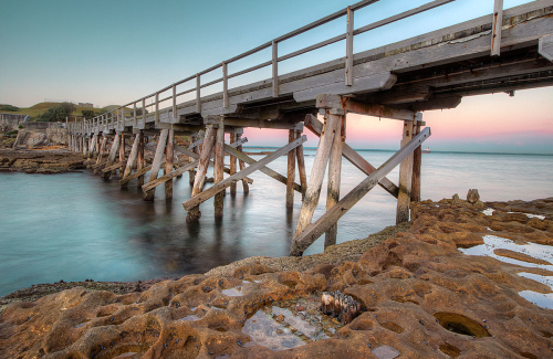 The spectacular walkway to Bare Island from La Perouse, NSW, Australia